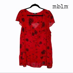 mblm Red Ruffle Trim Rockabilly Print Blouse